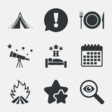 Food, sleep, camping tent and fire signs. Food, sleep, camping tent and fire icons. Knife, fork and dish. Hotel or bed and breakfast. Road signs. Attention Stock Images