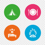 Food, sleep, camping tent and fire signs. Stock Photo