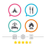 Food, sleep, camping tent and fire signs. Food, sleep, camping tent and fire icons. Knife and fork. Hotel or bed and breakfast. Road signs. Calendar, internet Stock Photography