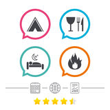 Food, sleep, camping tent and fire signs. Food, sleep, camping tent and fire icons. Knife, fork and wineglass. Hotel or bed and breakfast. Road signs. Calendar Royalty Free Stock Photography