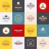 Food, sleep, camping tent and fire signs. Vintage frames, labels. Food, sleep, camping tent and fire icons. Knife, fork and dish. Hotel or bed and breakfast Royalty Free Stock Photos