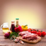 Food. Sliced pieces of raw meat for barbecue with Stock Image