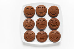 Food smile plate . Smiling chocolate Pancakes. Concept of Funny Stock Image
