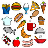 Food, snacks and dessert icons. Food and drinks flat icons set with pizza, sausages, burger, coffee cup, cake, chicken and egg, ice cream hot dog french fries Stock Images
