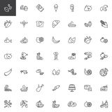 Food and snacks line icons set. Linear style symbols collection, outline signs pack. vector graphics. Set includes icons as Coffee beans, Muffin cake stock illustration