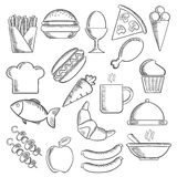 Food and snacks sketch icons Royalty Free Stock Photography