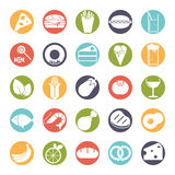 Food solid round color icons  set. Collection of 25 solid food and drink  icons in colored circles Stock Photography