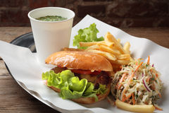 The food with soup, burger and salad on a tray Royalty Free Stock Image