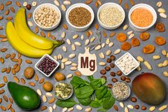 Food is source of magnesium Mg. Various natural food rich in vitamins. Useful food for health and balanced diet. Prevention of avitaminosis. Small cutting Royalty Free Stock Photography