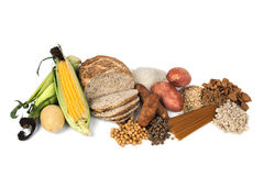 Food Sources of Complex Carbohydrates Royalty Free Stock Photos