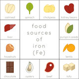 Food sources of iron. Flat food icons for infographic Stock Photography