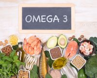 Omega 3 fatty acids food sources Royalty Free Stock Images