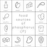 Food sources of phosphorus Royalty Free Stock Photography