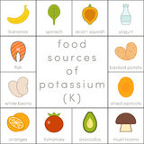 Food sources of potassium. Food icons for infographic Stock Photo