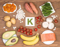 Food sources of potassium Royalty Free Stock Photography
