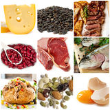 Food Sources of Protein. Including cheese, lentils, red and white meat, kidney beans, fish, tuna, nuts and eggs Stock Photos