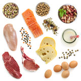 Food Sources of Protein Isolated Top View. Food sources of protein, isolated, top view.  Includes meat, fish, dairy, beans, nuts and seeds Royalty Free Stock Photos