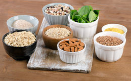 Food Sources of Silicon on wooden table. royalty free stock image