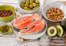 Food sources of unsaturated fats. Diet eating. stock image