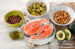 Food sources of  unsaturated fats. Healthy Diet eating Stock Image