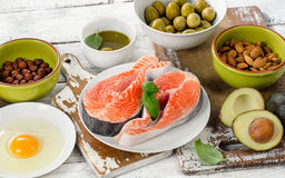 Food sources of unsaturated fats. Healthy eating concept Royalty Free Stock Photos