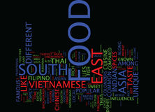 Food In South East Asia Text Background  Word Cloud Concept Royalty Free Stock Photography