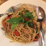 Food. Spaghetti sea drunkard in plate Stock Photo