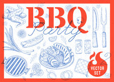 Food, spice, drinks, hand drawn elements. Set BBQ party Barbecue elements lemon, sausages, chicken, drinks, knife, onion, tomatoes, vegetables, fire Hand drawn Royalty Free Stock Photos