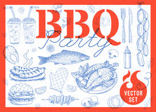 Food, spice, drinks, hand drawn elements. Set BBQ party Barbecue elements food, lemon, sausages, fish, seafood, drinks, knife, onion wings, tomatoes vegetables Stock Images