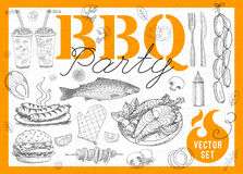 Food, spice, drinks, hand drawn elements. Set BBQ party Barbecue elements food, lemon, sausages, fish seafood, drinks, knife, onion wings, tomatoes, vegetables Stock Image