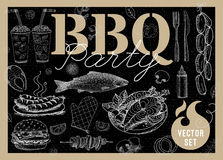 Food, spice, drinks, hand drawn elements. Set BBQ party Barbecue elements food, lemon, sausages, fish seafood, drinks, knife, onion wings, tomatoes, vegetables Royalty Free Stock Photography