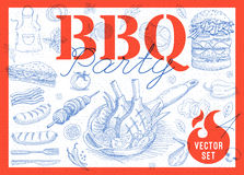 Food, spice, drinks, hand drawn elements. Set BBQ party Barbecue elements food, meat, sausages, bacon, sandwich, hamburger, onion wings, tomatoes, vegetables Royalty Free Stock Photo