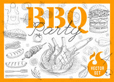 Food, spice, drinks, hand drawn elements. Set BBQ party Barbecue elements food, meat, sausages, bacon, sandwich, hamburger, onion wings, tomatoes, vegetables Royalty Free Stock Photography