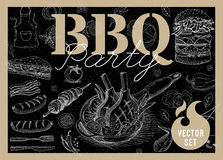 Food, spice, drinks, hand drawn elements. Set BBQ party Barbecue elements food, meat, sausages, bacon, sandwich, hamburger, onion wings, tomatoes, vegetables Stock Image