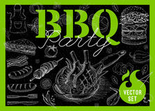 Food, spice, drinks, hand drawn elements. Set BBQ party Barbecue elements food, meat, sausages, bacon, sandwich, hamburger, onion wings, tomatoes, vegetables Stock Images