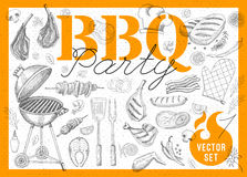 Food, spice, drinks, hand drawn elements. Set BBQ party Barbecue elements steak, sausages, meat, drinks, mustard, mushrooms, tomatoes, vegetables, fire Hand Royalty Free Stock Photography