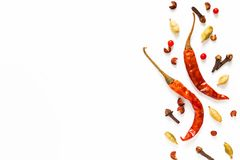 Food spices presentation background red dried chilies and variou. S exotic spieces on white background Stock Photo