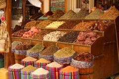 Food and spices for sale in a small shop Stock Image