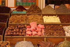 Food and spices for sale in a small shop Royalty Free Stock Photo
