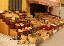 Food and spices for sale in a small shop Royalty Free Stock Images
