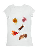 Food stains on a t shirt. Collection of various food stains from ketchup, chocolate, coffee and wine on white t shirt Stock Photos