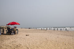 Food stall on the beach in Accra, Ghana Royalty Free Stock Photo