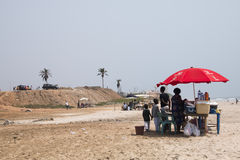 Food stall on the beach in Accra, Ghana Royalty Free Stock Photography