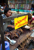 Food stall with beef and pig giblets, entrails in Myanmar. Food stall with cheap beef and pig giblets and entrails at the food market in MyanmarRangoon, Myanmar Stock Photos