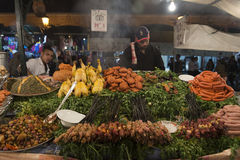 Food stall in Marrakesh main square at night Royalty Free Stock Photo