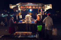 Food stall in Marrakesh square at night Stock Photography