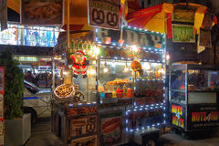 Food stall in NYC. Christmas decorated food stall in NYC at night tine Stock Photo