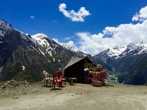 A food stall on a remote Himalayan  road - Entrepreneurship. A lone food stall in remote Himalayas road in Leh Region, India. These stalls cater to tourists Stock Image