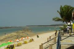 Food stalls at Barra de São Miguel beach. royalty free stock photos