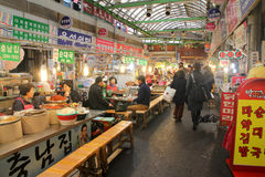 Food stalls in Gwangjang Market, Seoul, Korea. Royalty Free Stock Photos